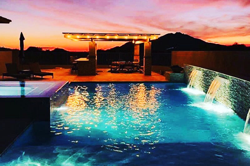 pool design with lights at night mahan