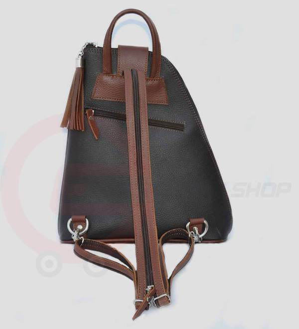Women-Leather-student-Backpack-back
