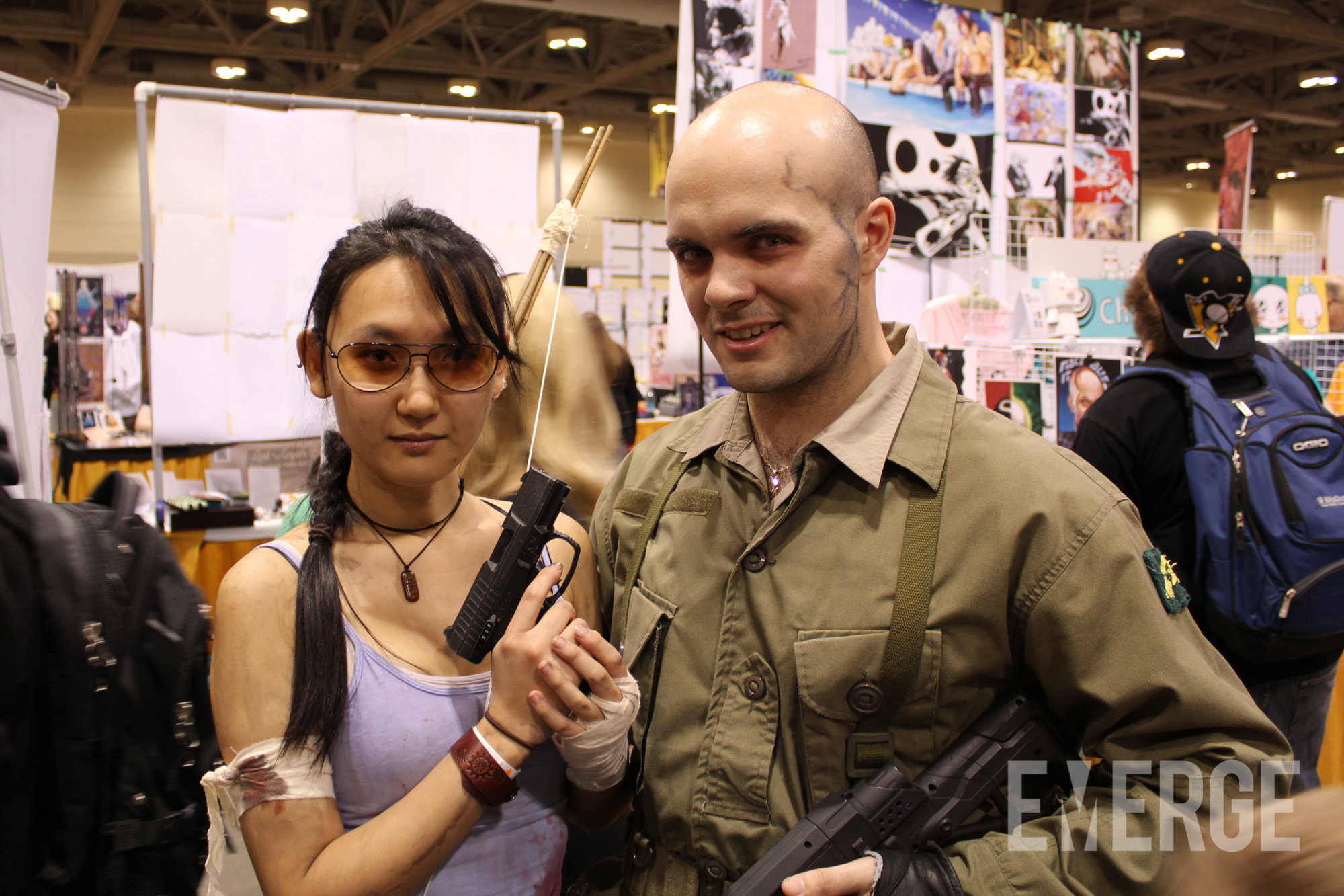 Lara Croft (Tomb Raider) and Anthony Hale (Resistance) taking a break from saving the world