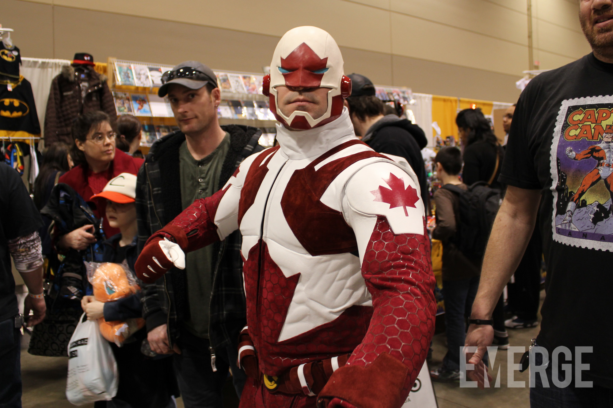 Canadian superhero Captain Canuck out on the floor showing off his costume