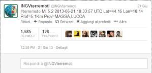 INGV - Esempio Tweet