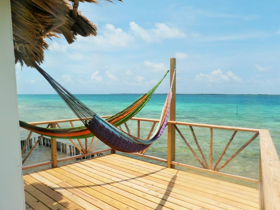 Over the water cabana at Thatch Caye, Belize.