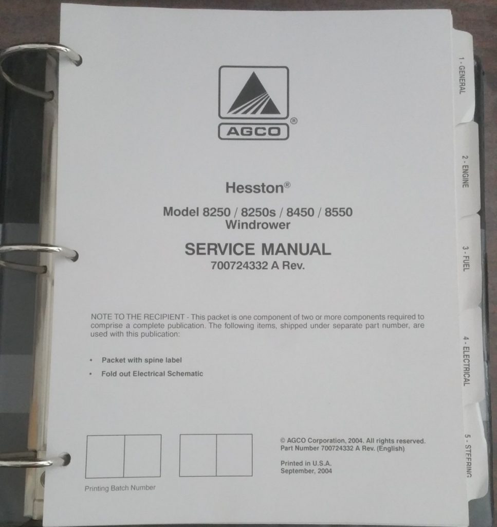 Manuals For Hesston 8450 Windrower Wiring Diagram Agco 8250 8250s 8550 Tractor Service Manual