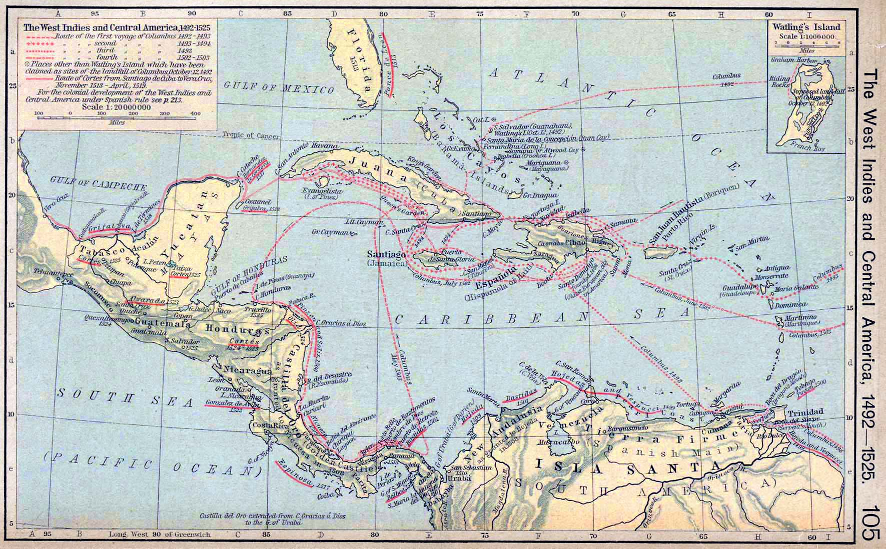 Map Of Central America 1492 1525