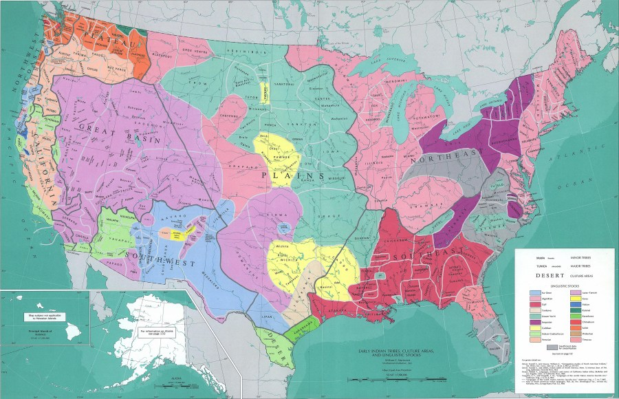 Map of the United States   Early Native American Tribes