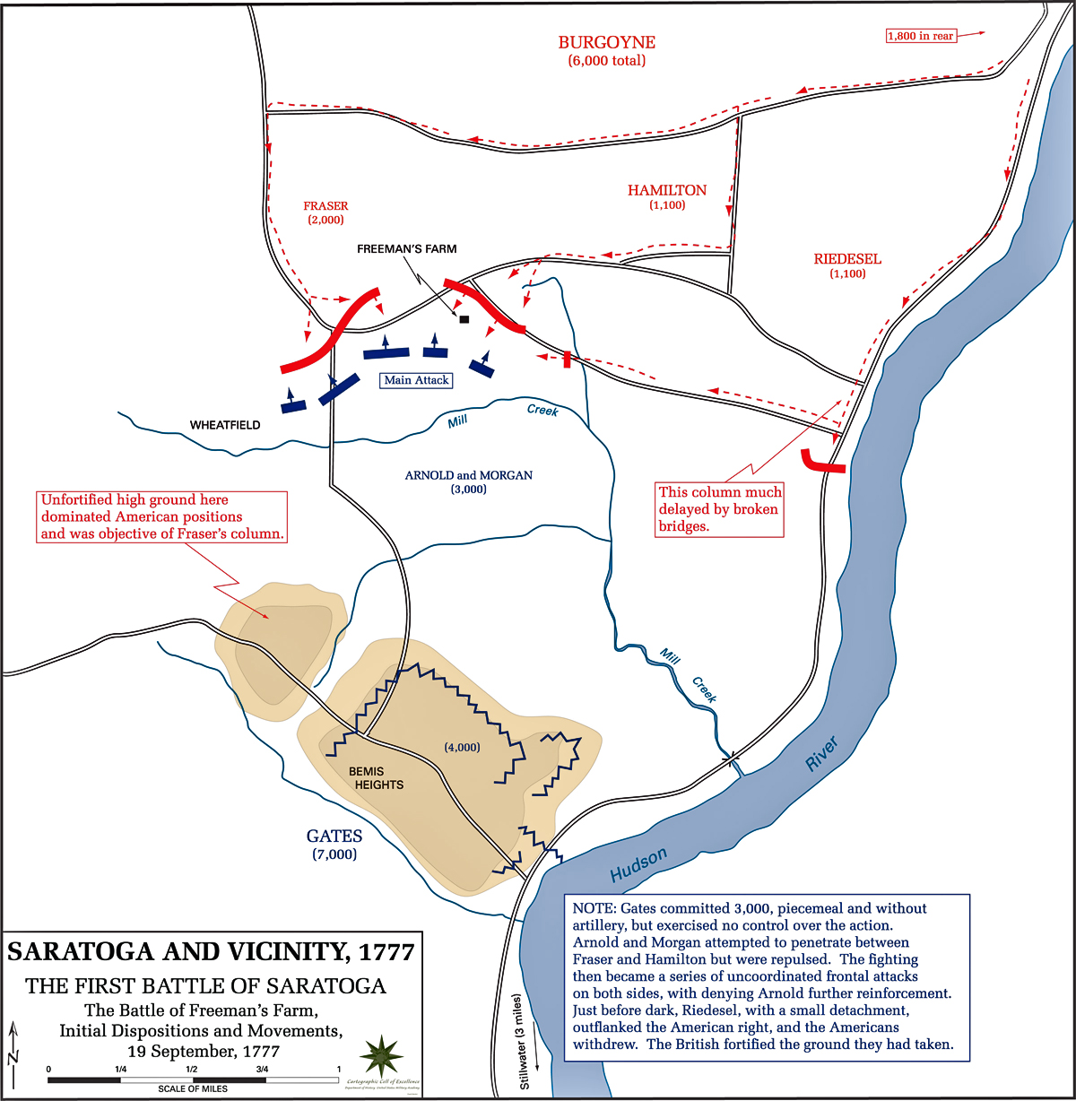 Map Of The First Battle Of Saratoga
