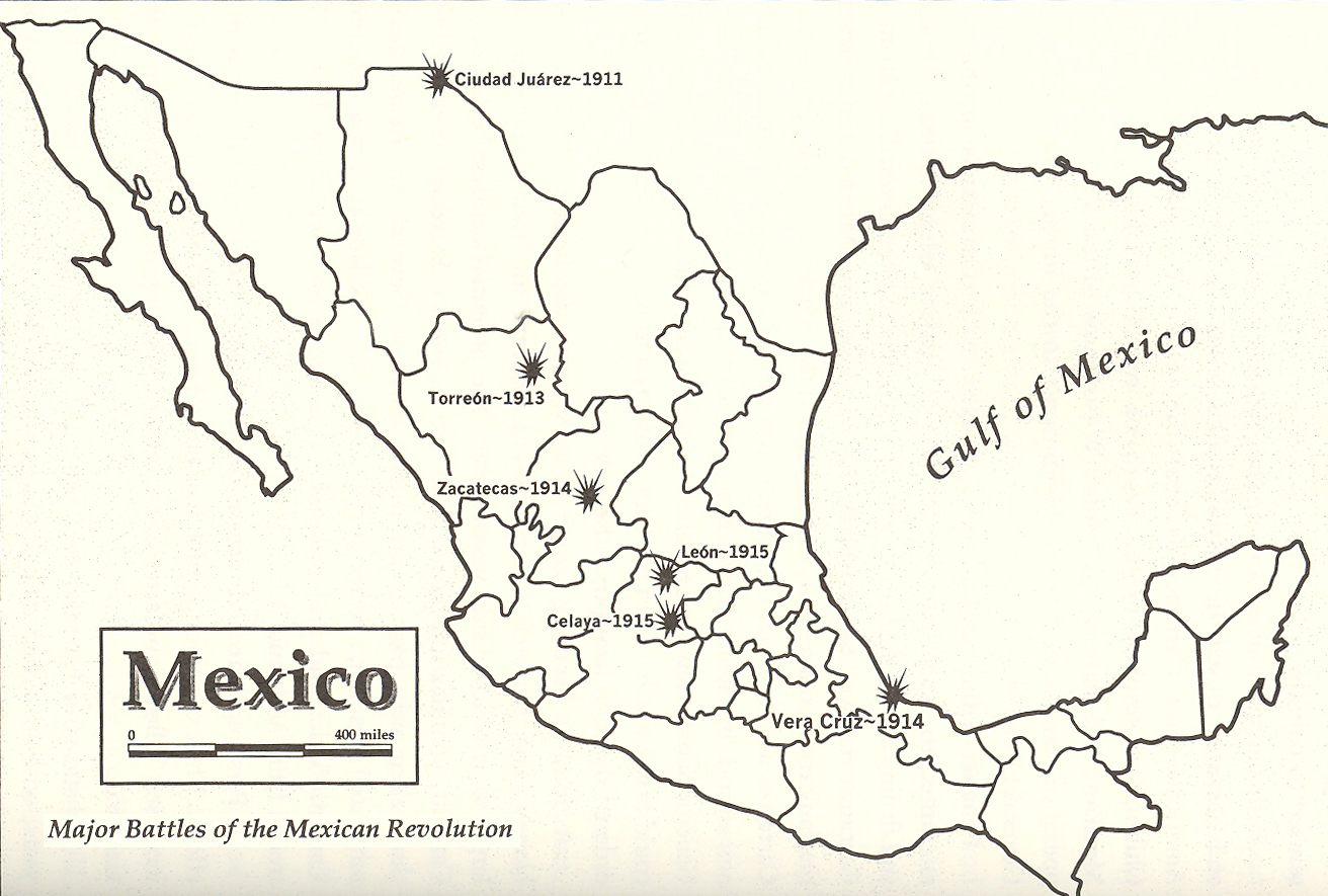 Map Of The Major Battles Of The Mexican Revolution