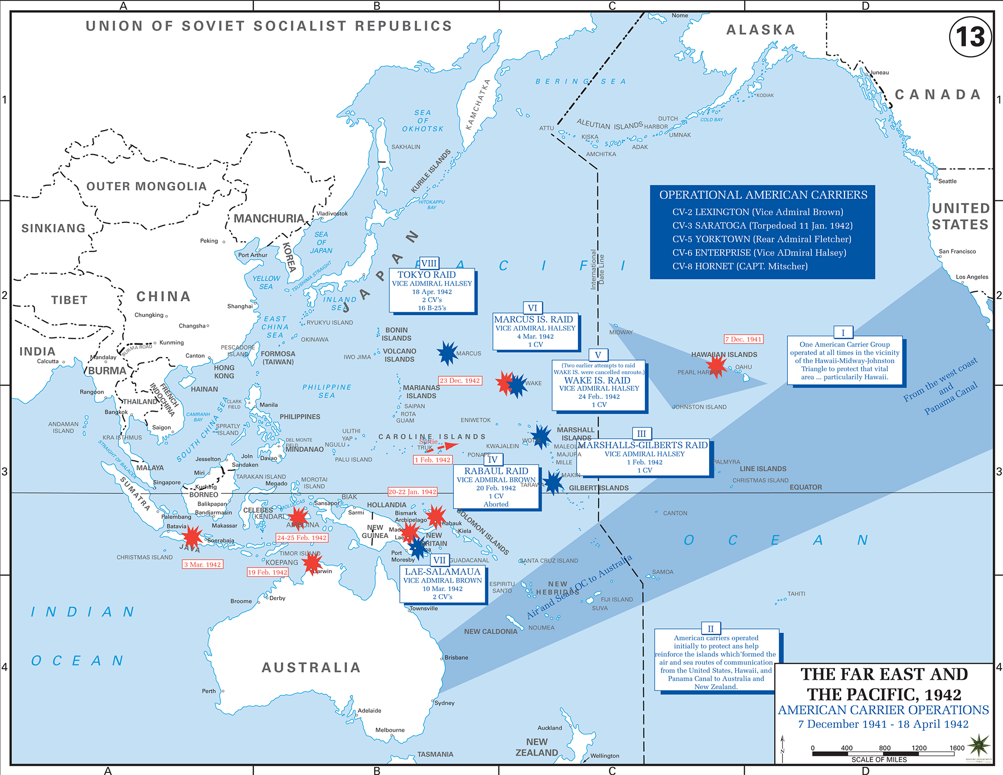 Map Of Wwii American Carriers In The Pacific 42