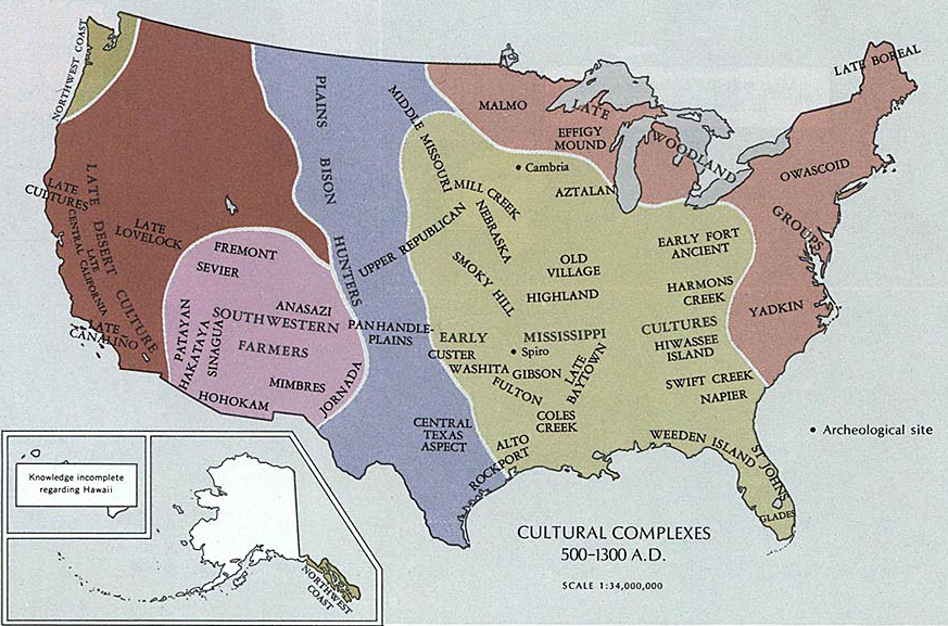 Map of the United States 500 1300 AD Map of the Area of today s United States 500   1300 A D