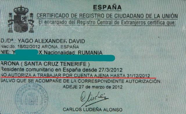 Noul Número de Identificación de Extranjeros. Înainte era o coală A4