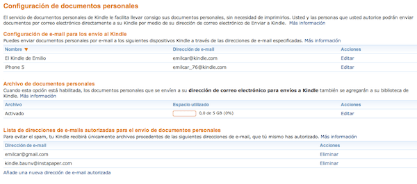 Configuración de email Kindle en Amazon
