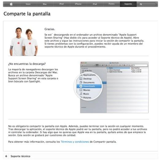 Captura de las instrucciones de Apple para compartir pantalla