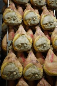 Picture of Parma hams in Langhirano