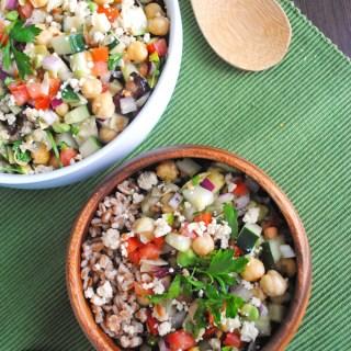 Greek Chickpea Salad with Vegan Almond Feta Cheese