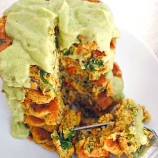 Fluffy Chickpea Pancakes with Vegetables and Avocado Sauce (vegan & gluten-free)