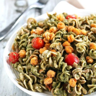 Avocado Pesto Pasta with Roasted Chickpeas & A Free eBook!