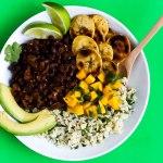 Black Bean Cilantro Lime Rice Bowls with Plantains