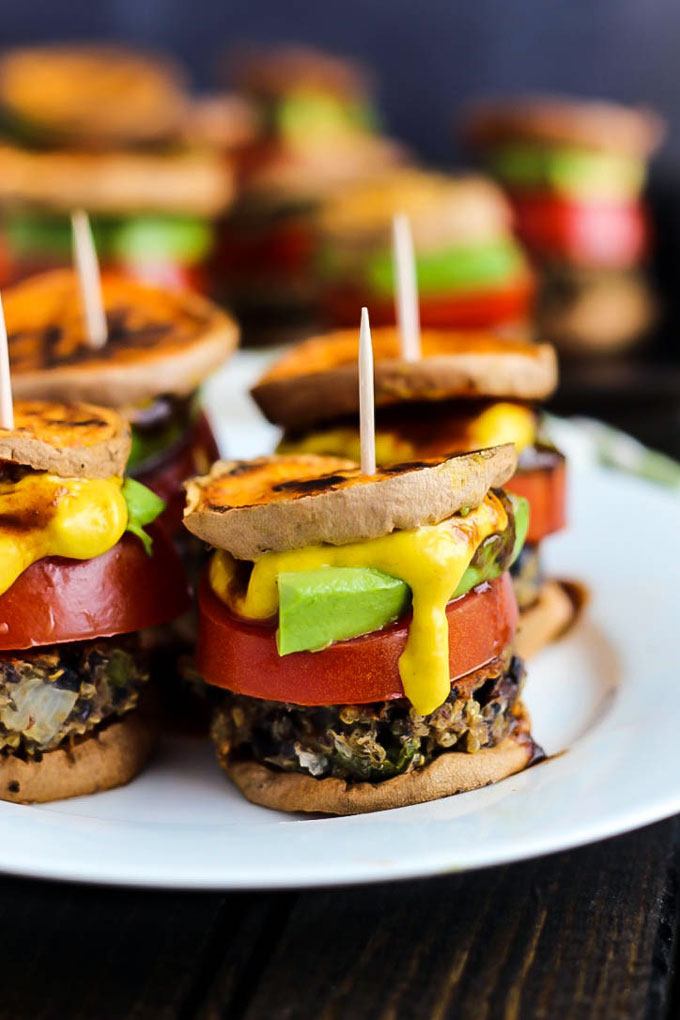 Bbq Dinner Ideas Party Part - 39: Hearty Veggie Burgers On Sweet Potato Buns Make These Vegan Sweet Potato  Sliders A Great Party