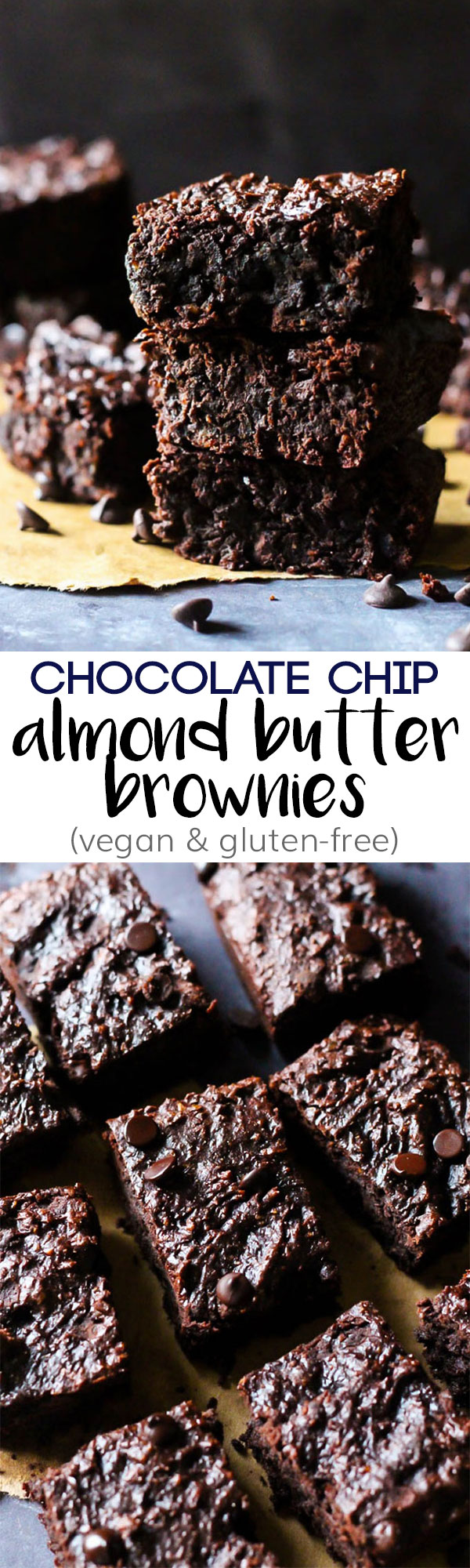 These Chocolate Chip Almond Butter Brownies taste like a decadent dessert, but they're also vegan, gluten-free & date-sweetened! Rich, fudgy & satisfying.