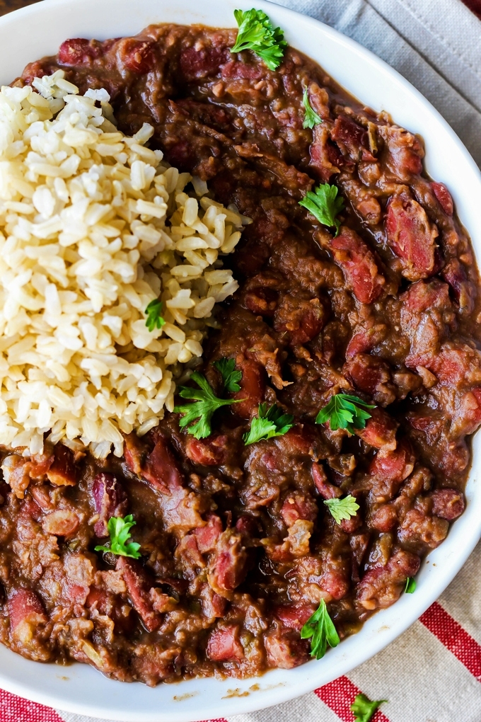 These Cajun-Style Vegan Red Beans and Rice are a healthy version of the traditional Louisiana dish, but are still just as satisfying and flavorful!