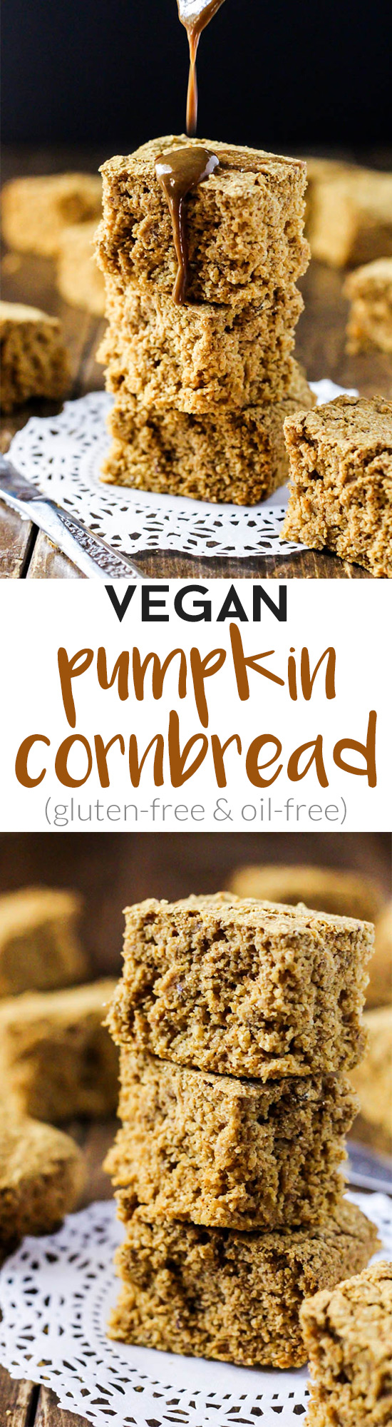 This delicious, fluffy Vegan Pumpkin Cornbread is your new favorite side dish for a holiday dinner or weeknight meal! Gluten-free & oil-free.