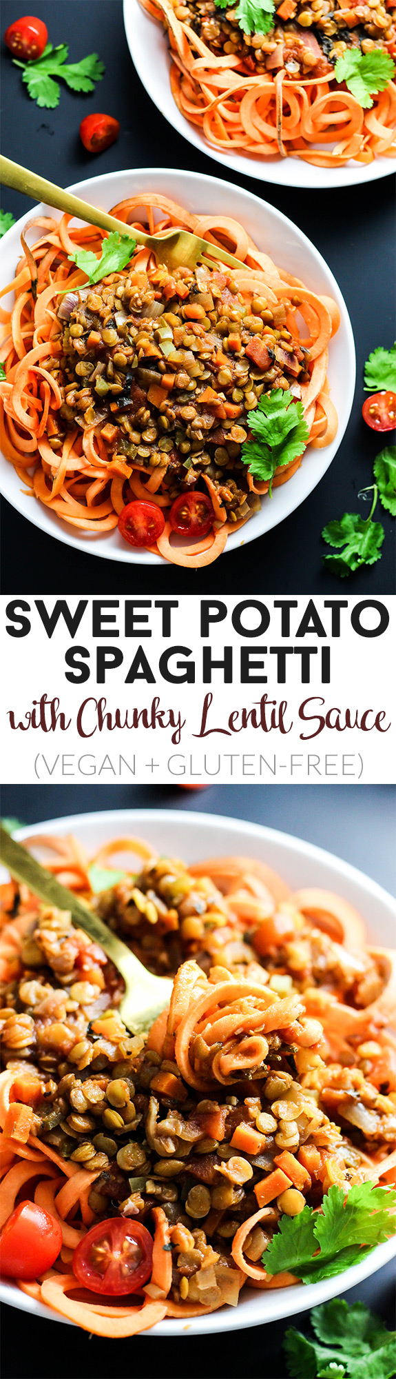 Enjoy this classic flavors of this Sweet Potato Spaghetti with Chunky Lentil Sauce! This vegan & gluten-free meal is comforting and filling, yet healthy.