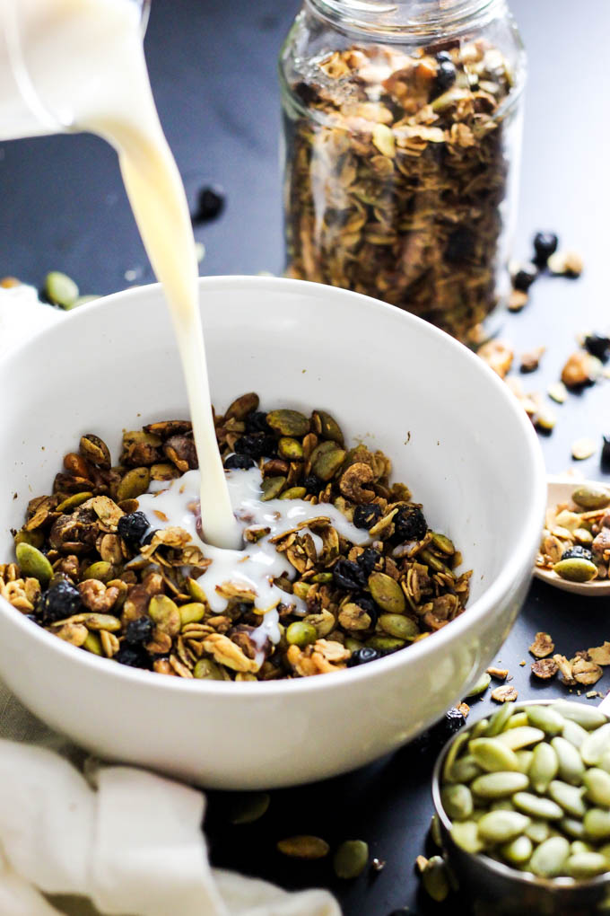 Maple walnut granola vegan gluten free emilie eats crunchy sweet this maple walnut granola is great with a splash of almond milk ccuart Image collections