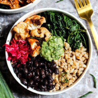 Serve up dinner in less than 30 minutes with this Black Bean Buddha Bowl recipe with creamy Avocado Pesto! It's vegan, gluten-free, and full of nutrients.