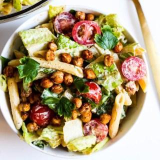 Chickpea Caesar Pasta Salad (vegan & gluten-free)
