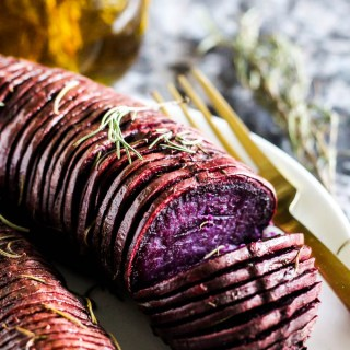 Purple Hasselback Sweet Potatoes