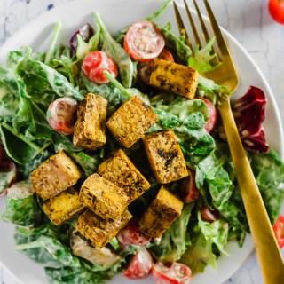 Crispy Tofu Vegan Caesar Salad