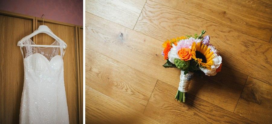 Bride's wedding dress and bouquet