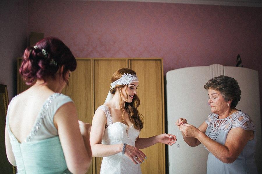 Boho bride in her pronovias dress