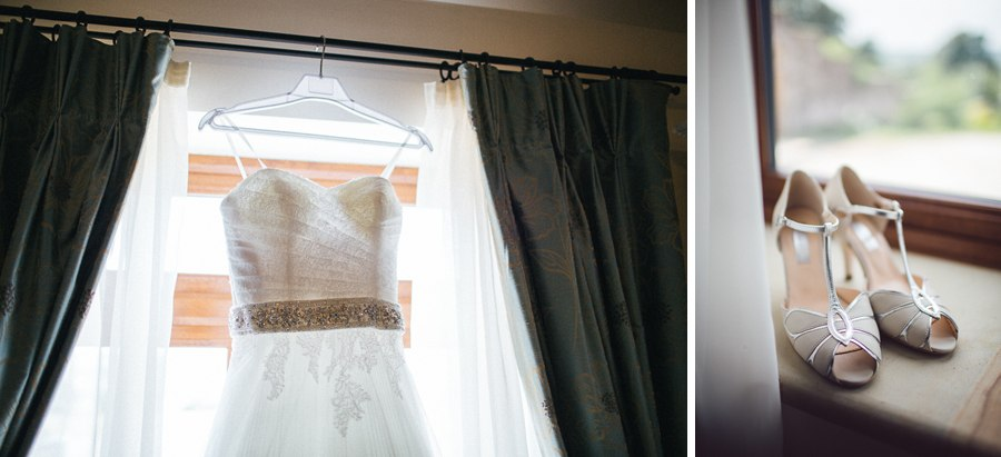 Bride's wedding dress and Rachel Simpson shoes