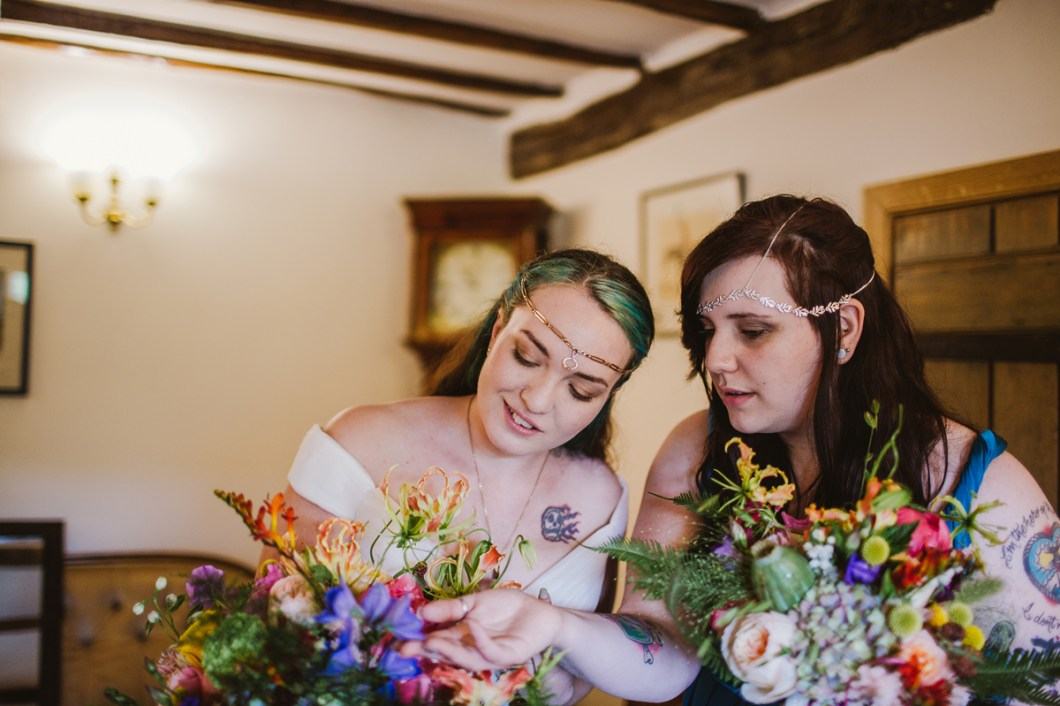 Colourful wedding bouquets for boho wedding