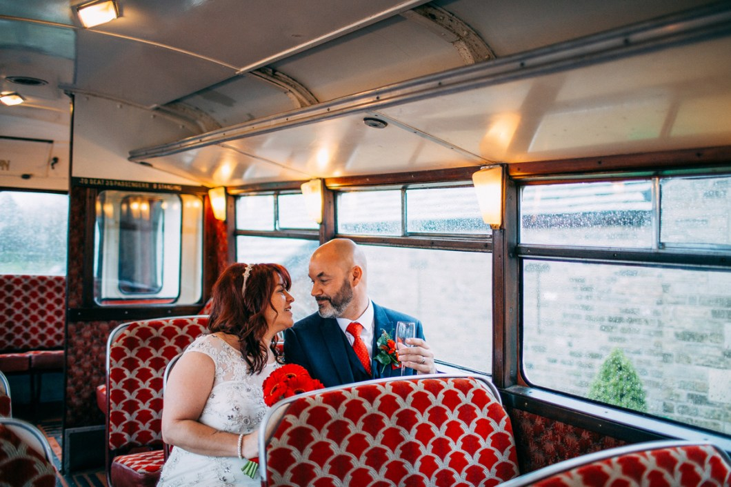 Vintage wedding bus portraits