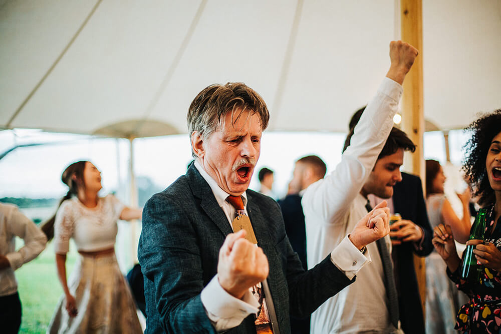 Guests dancing at Cheshire marquee wedding