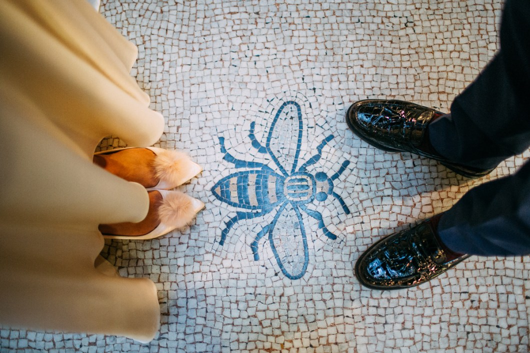 Wedding shoes and Manchester bee tiles