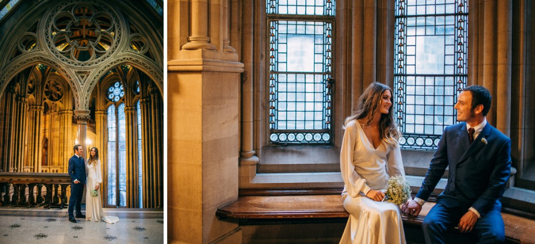 Bride and groom portraits Manchester Town Hall