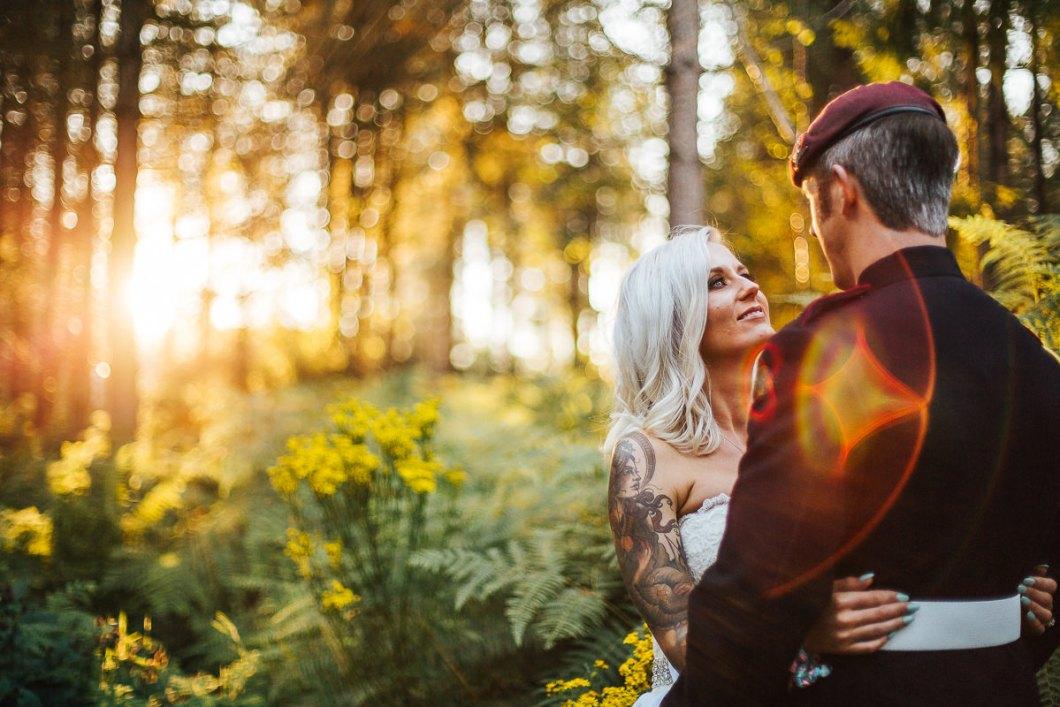 Sunset over woodland wedding