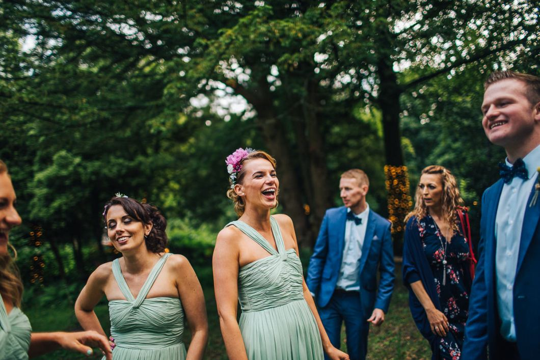 Laugher at outdoor wedding