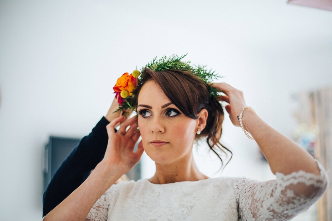 Flower crown relaxed Lancashire wedding