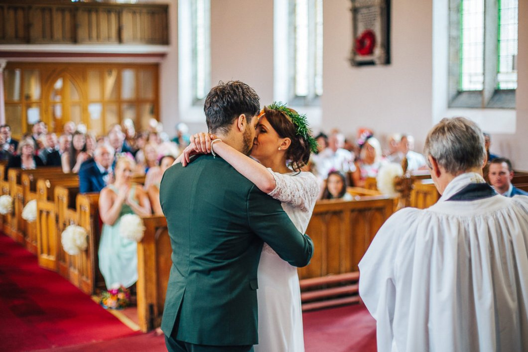 First kiss - Lancashire wedding