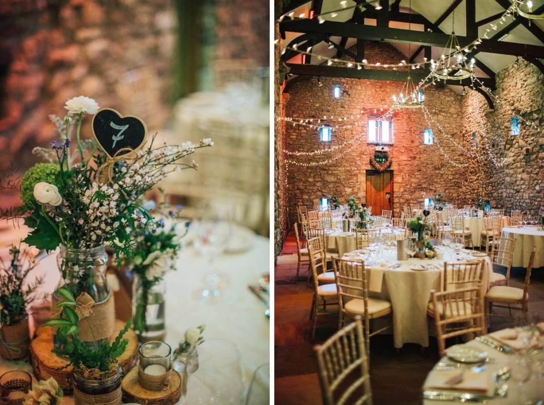 Rustic floral wedding centrepieces