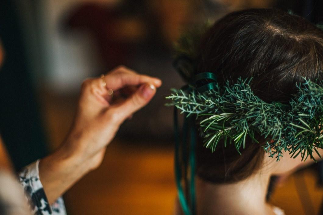 Bridesmaids hair crown