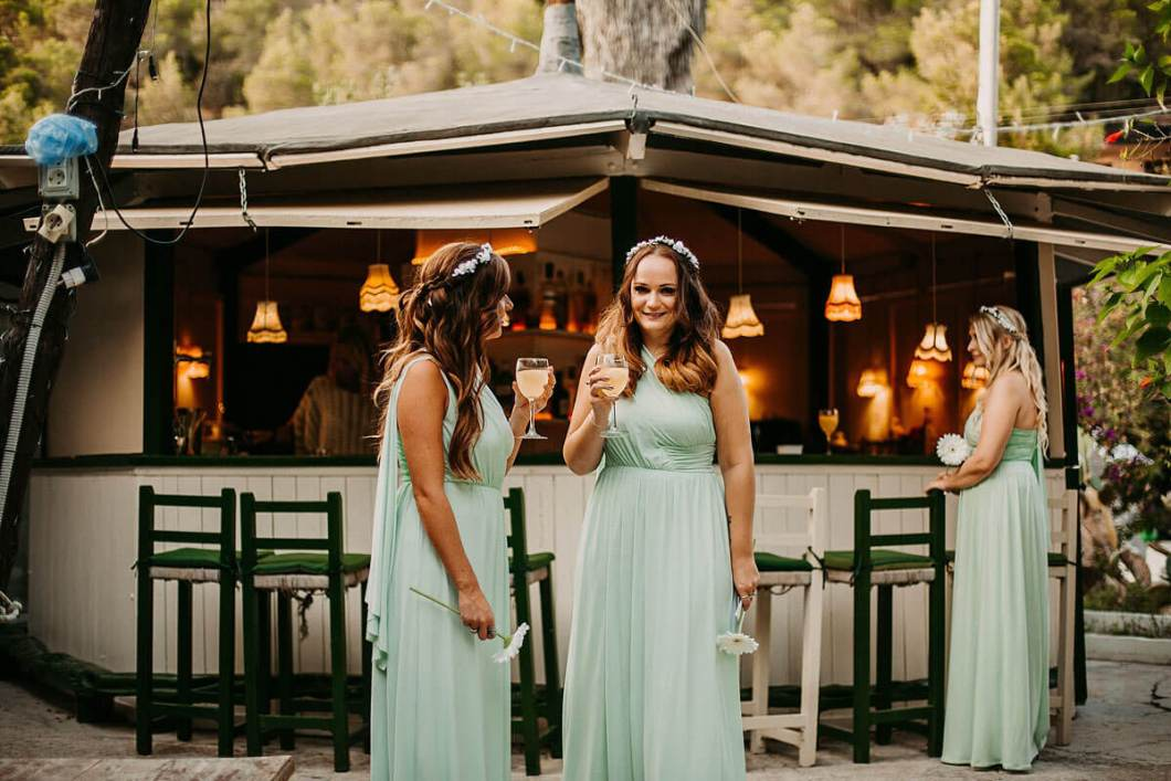 Bridesmaids during drinks reception