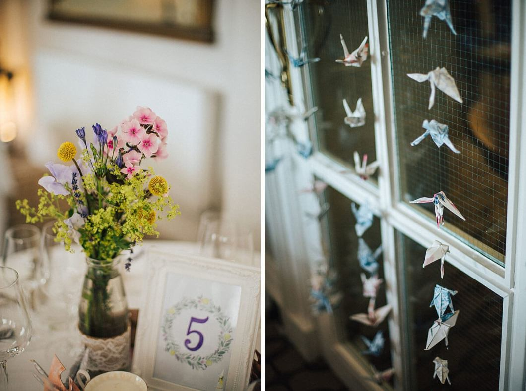 Summer wedding flowers and origami birds