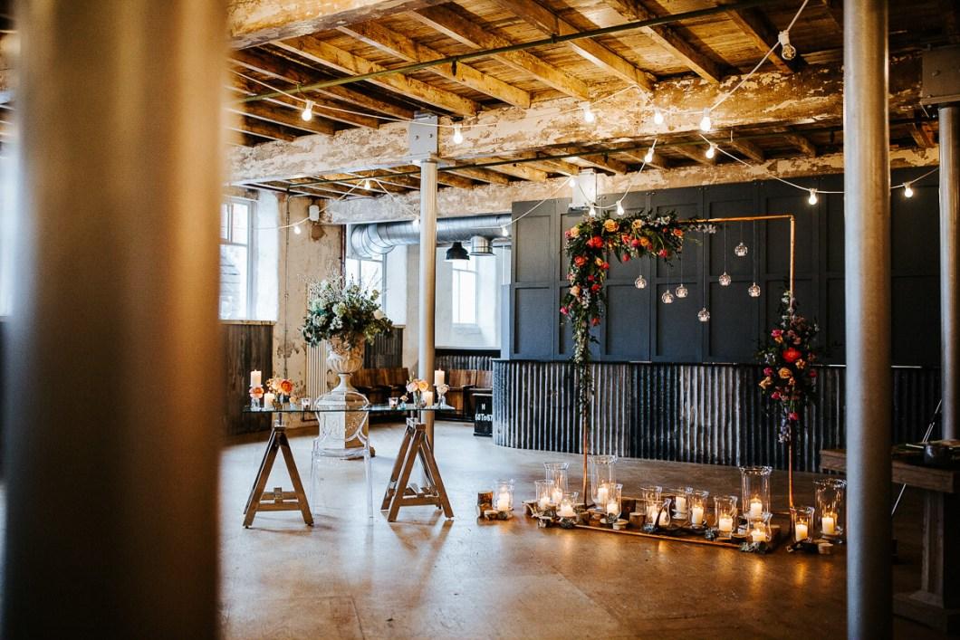 Copper framed backdrop wedding decoration