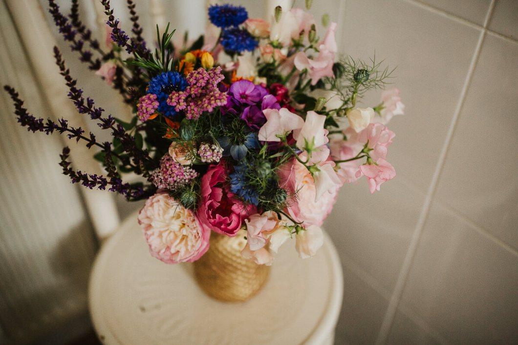 Colourful bouquet Fletcher Foley wedding flowers