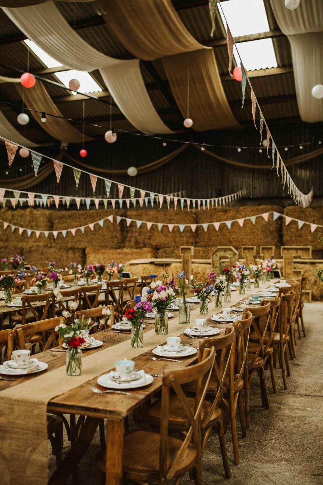 Farm wedding trestle table decor